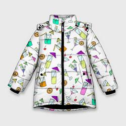 Куртка зимняя для девочки Коктейльная вечеринка цвета 3D-черный — фото 1