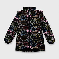 Куртка зимняя для девочки SLAVA MARLOW - Неоновые смайлы - фото 1