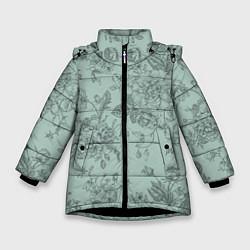 Куртка зимняя для девочки Пионы и розы цвета 3D-черный — фото 1