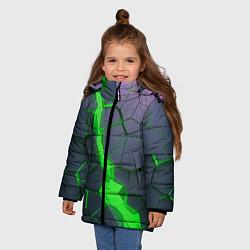 Куртка зимняя для девочки ЗЕЛЕНЫЙ РАЗЛОМ 3Д РАЗЛОМ цвета 3D-черный — фото 2
