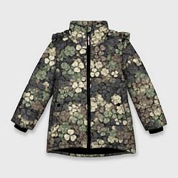 Куртка зимняя для девочки Камуфляж с клевером цвета 3D-черный — фото 1