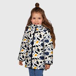 Куртка зимняя для девочки Итальянский Узор Терраццо цвета 3D-черный — фото 2