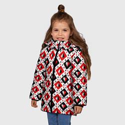 Куртка зимняя для девочки Карточный Катала цвета 3D-черный — фото 2
