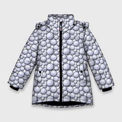 Куртка зимняя для девочки Волейбольные Мячи цвета 3D-черный — фото 1