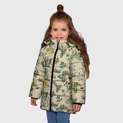Куртка зимняя для девочки Зайчики с Цветочками цвета 3D-черный — фото 2