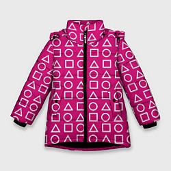 Куртка зимняя для девочки Игра в кальмара: Фигуры цвета 3D-черный — фото 1
