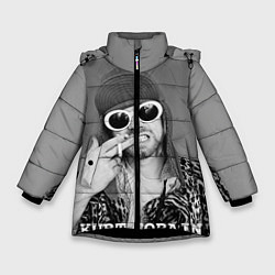 Куртка зимняя для девочки Кобейн в очках цвета 3D-черный — фото 1