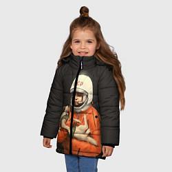 Куртка зимняя для девочки Гагарин с лайкой цвета 3D-черный — фото 2