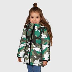 Детская зимняя куртка для девочки с принтом Камуфляж, цвет: 3D-черный, артикул: 10065272606065 — фото 2