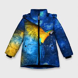 Детская зимняя куртка для девочки с принтом Космический попугай, цвет: 3D-черный, артикул: 10065277406065 — фото 1