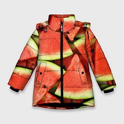 Куртка зимняя для девочки Дольки арбуза цвета 3D-черный — фото 1