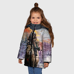 Детская зимняя куртка для девочки с принтом Красноармеец на медведе, цвет: 3D-черный, артикул: 10071970406065 — фото 2