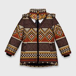Куртка зимняя для девочки Зимний узор с галстуком цвета 3D-черный — фото 1