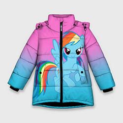 Детская зимняя куртка для девочки с принтом My Little Pony, цвет: 3D-черный, артикул: 10075443506065 — фото 1