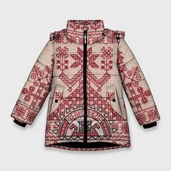 Куртка зимняя для девочки Вышивка цвета 3D-черный — фото 1
