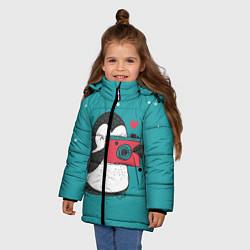 Куртка зимняя для девочки Пингвин с фотоаппаратом цвета 3D-черный — фото 2