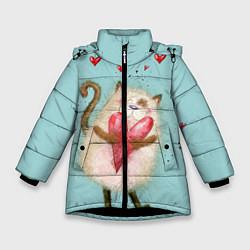 Куртка зимняя для девочки Котик цвета 3D-черный — фото 1