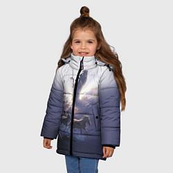 Куртка зимняя для девочки Небесные лошади цвета 3D-черный — фото 2