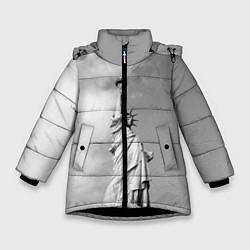 Куртка зимняя для девочки Статуя Свободы цвета 3D-черный — фото 1