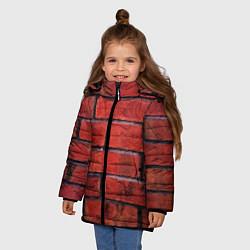Детская зимняя куртка для девочки с принтом Кирпич, цвет: 3D-черный, артикул: 10081034906065 — фото 2