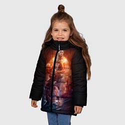 Куртка зимняя для девочки Баскетболист цвета 3D-черный — фото 2