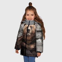 Куртка зимняя для девочки Русский медведь цвета 3D-черный — фото 2