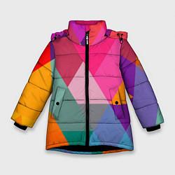 Куртка зимняя для девочки Разноцветные полигоны цвета 3D-черный — фото 1
