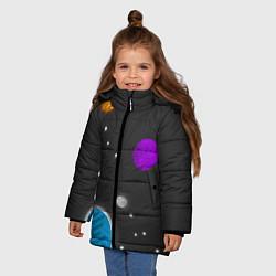Куртка зимняя для девочки Космос цвета 3D-черный — фото 2