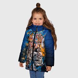 Детская зимняя куртка для девочки с принтом Iron Maiden: Skeletons, цвет: 3D-черный, артикул: 10089879506065 — фото 2