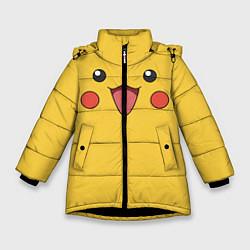 Куртка зимняя для девочки Пикачу цвета 3D-черный — фото 1