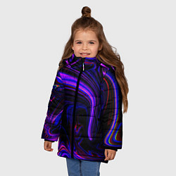 Куртка зимняя для девочки Цветные разводы цвета 3D-черный — фото 2