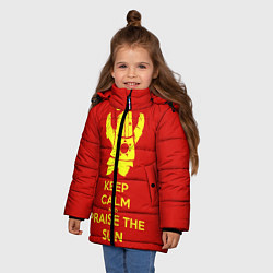 Куртка зимняя для девочки Keep Calm & Praise The Sun цвета 3D-черный — фото 2