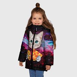 Куртка зимняя для девочки Кот с едой цвета 3D-черный — фото 2