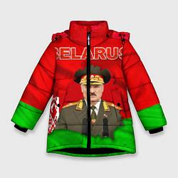 Куртка зимняя для девочки Belarus: Lukashenko цвета 3D-черный — фото 1