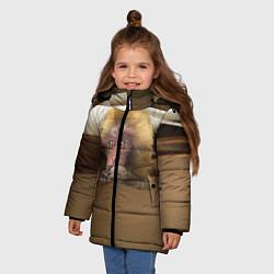 Детская зимняя куртка для девочки с принтом Мартышка, цвет: 3D-черный, артикул: 10096243406065 — фото 2