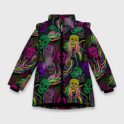 Куртка зимняя для девочки Черепки цвета 3D-черный — фото 1