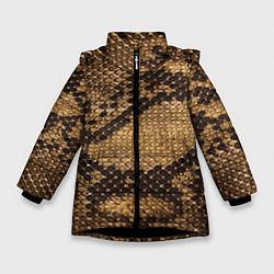 Куртка зимняя для девочки Змеиная кожа цвета 3D-черный — фото 1