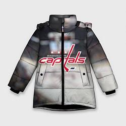 Детская зимняя куртка для девочки с принтом Washington Capitals, цвет: 3D-черный, артикул: 10099897106065 — фото 1
