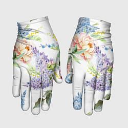 Перчатки Сирень и Пионы цвета 3D — фото 1