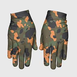 Перчатки Камуфляж: хаки/оранжевый цвета 3D — фото 1