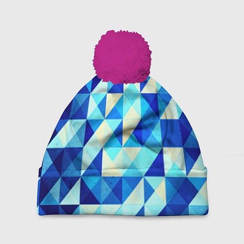Шапка c помпоном Синяя геометрия / 3D-Малиновый – фото 1
