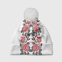 Шапка с помпоном Вышивка 28 цвета 3D-белый — фото 1