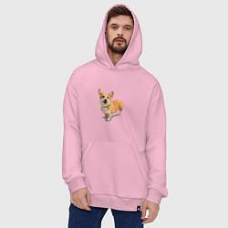 Толстовка-худи оверсайз Собака цвета светло-розовый — фото 2
