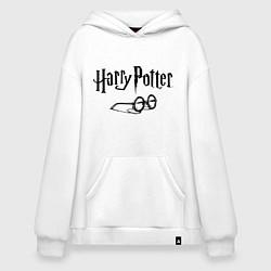 Толстовка-худи оверсайз Гарри Поттер цвета белый — фото 1