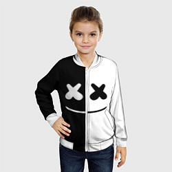 Бомбер детский Marshmello: Black & White цвета 3D-белый — фото 2