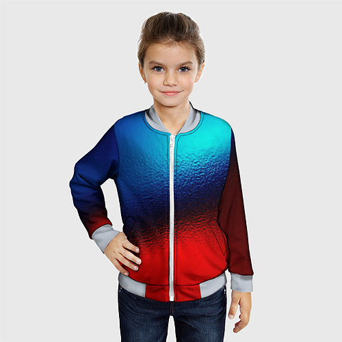Детский бомбер Синий и красный / 3D-Серый – фото 4