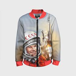 Бомбер детский Гагарин взлетает цвета 3D-красный — фото 1