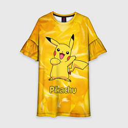Платье клеш для девочки Pikachu цвета 3D-принт — фото 1