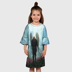 Платье клеш для девочки Люцифер с крыльями цвета 3D-принт — фото 2