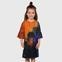 Платье клеш для девочки Виктор Цой в ночи цвета 3D — фото 2